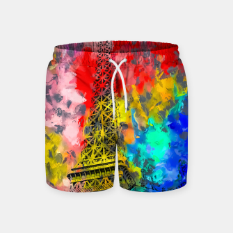 Thumbnail image of Eiffel Tower at Paris hotel and casino, Las Vegas, USA,with red blue yellow painting abstract background Swim Shorts, Live Heroes