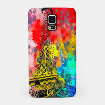 Thumbnail image of Eiffel Tower at Paris hotel and casino, Las Vegas, USA,with red blue yellow painting abstract background Samsung Case, Live Heroes