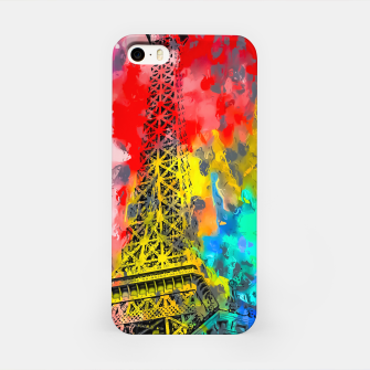 Thumbnail image of Eiffel Tower at Paris hotel and casino, Las Vegas, USA,with red blue yellow painting abstract background iPhone Case, Live Heroes
