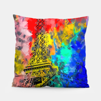 Thumbnail image of Eiffel Tower at Paris hotel and casino, Las Vegas, USA,with red blue yellow painting abstract background Pillow, Live Heroes