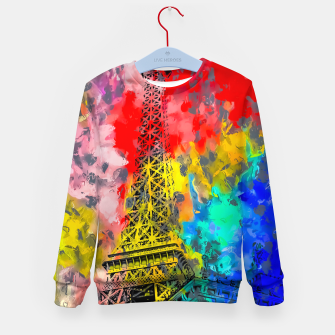 Thumbnail image of Eiffel Tower at Paris hotel and casino, Las Vegas, USA,with red blue yellow painting abstract background Kid's sweater, Live Heroes