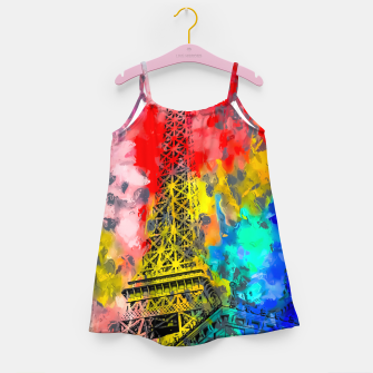 Thumbnail image of Eiffel Tower at Paris hotel and casino, Las Vegas, USA,with red blue yellow painting abstract background Girl's dress, Live Heroes