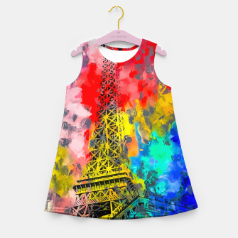 Thumbnail image of Eiffel Tower at Paris hotel and casino, Las Vegas, USA,with red blue yellow painting abstract background Girl's summer dress, Live Heroes