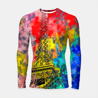 Thumbnail image of Eiffel Tower at Paris hotel and casino, Las Vegas, USA,with red blue yellow painting abstract background Longsleeve rashguard , Live Heroes