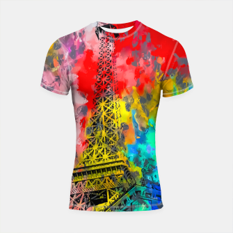 Thumbnail image of Eiffel Tower at Paris hotel and casino, Las Vegas, USA,with red blue yellow painting abstract background Shortsleeve rashguard, Live Heroes