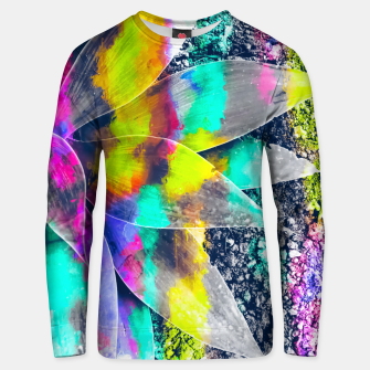 Thumbnail image of succulent plant with painting abstract background in green pink yellow purple Unisex sweater, Live Heroes