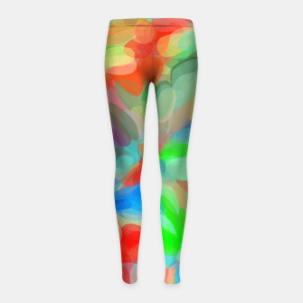 Miniatur circle pattern abstract background in green blue orange yellow Girl's leggings, Live Heroes