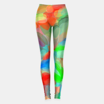 Miniatur circle pattern abstract background in green blue orange yellow Leggings, Live Heroes