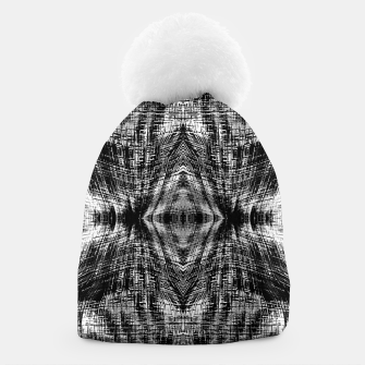 Thumbnail image of vintage geometric symmetry pattern abstract background in black and white Beanie, Live Heroes