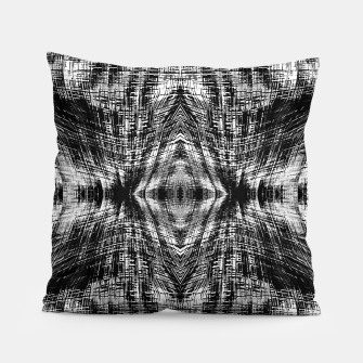 Thumbnail image of vintage geometric symmetry pattern abstract background in black and white Pillow, Live Heroes