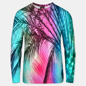 Thumbnail image of isolate palm tree with painting abstract background in pink and blue Unisex sweater, Live Heroes