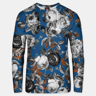 Thumbnail image of Romantic Black White Roses on Blue Unisex sweater, Live Heroes