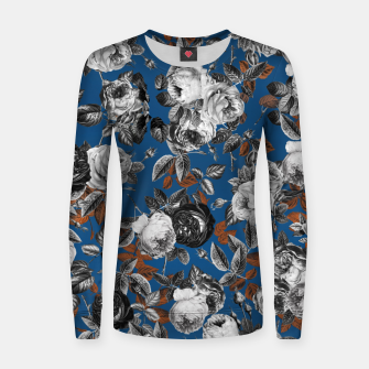 Thumbnail image of Romantic Black White Roses on Blue Women sweater, Live Heroes