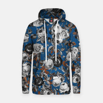 Thumbnail image of Romantic Black White Roses on Blue Hoodie, Live Heroes