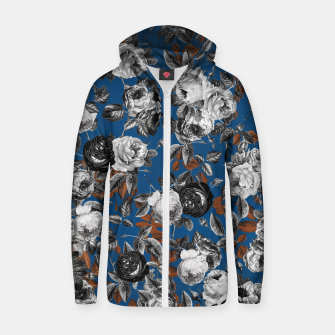 Thumbnail image of Romantic Black White Roses on Blue Zip up hoodie, Live Heroes