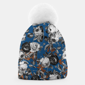 Thumbnail image of Romantic Black White Roses on Blue Beanie, Live Heroes