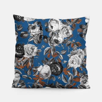 Thumbnail image of Romantic Black White Roses on Blue Pillow, Live Heroes
