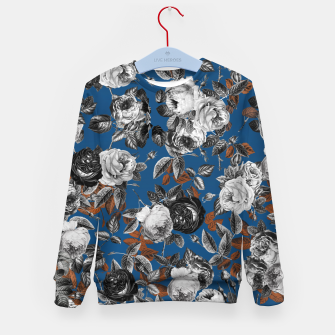Thumbnail image of Romantic Black White Roses on Blue Kid's sweater, Live Heroes