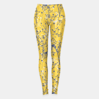 Thumbnail image of Blue Wildflowers Silhouettes on Mustard Yellow Pattern Leggings, Live Heroes