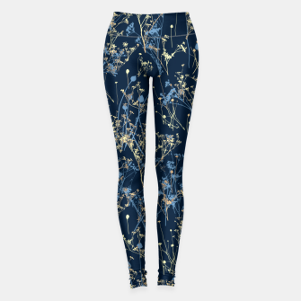 Thumbnail image of Wildflowers Silhouettes on Dark Blue Floral Pattern Leggings, Live Heroes