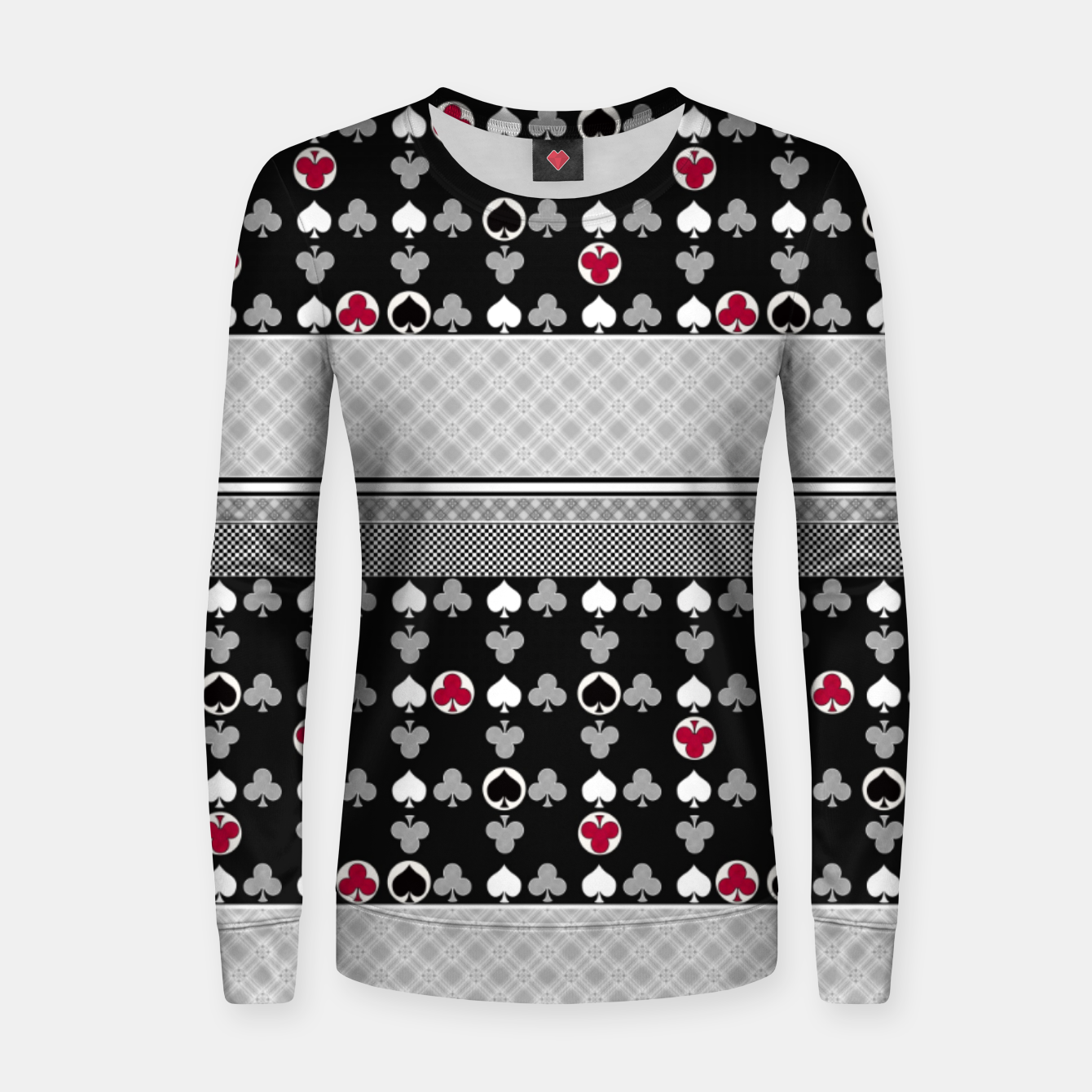 Image of Playing cards poker black red Women sweater - Live Heroes