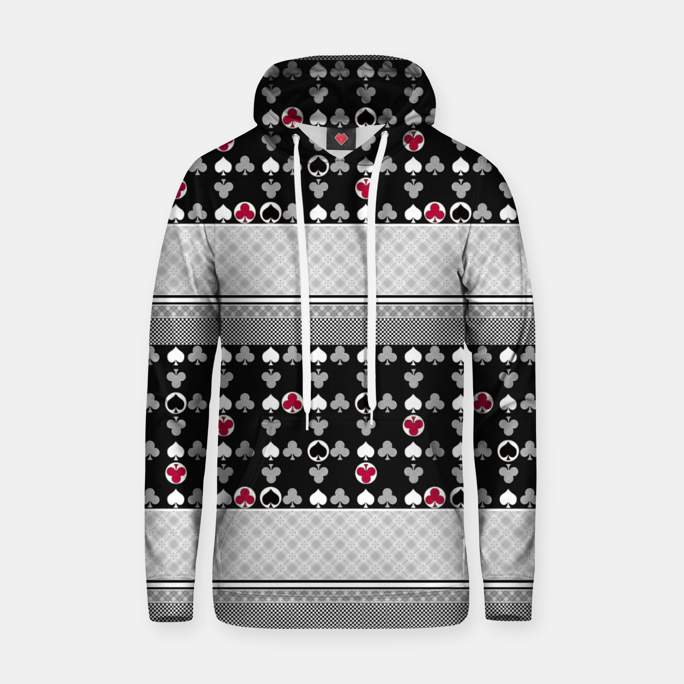 Image of Playing cards poker black red Hoodie - Live Heroes