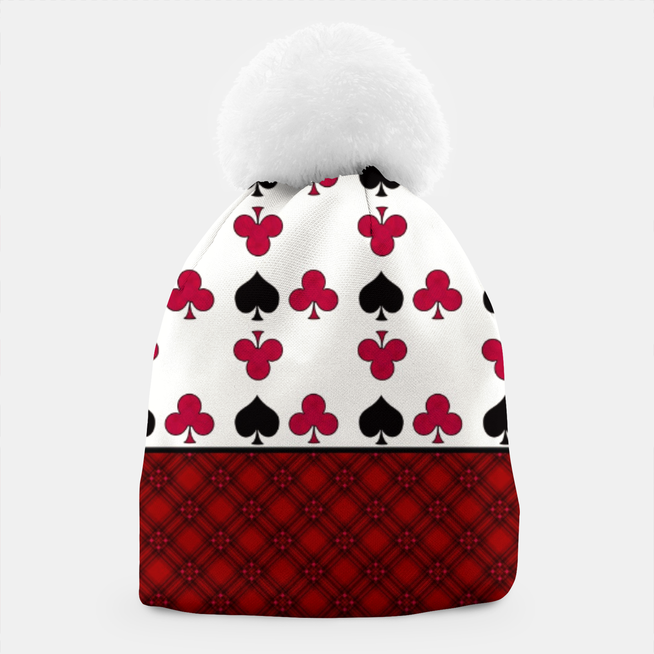 Image of Playing cards poker black red Beanie - Live Heroes