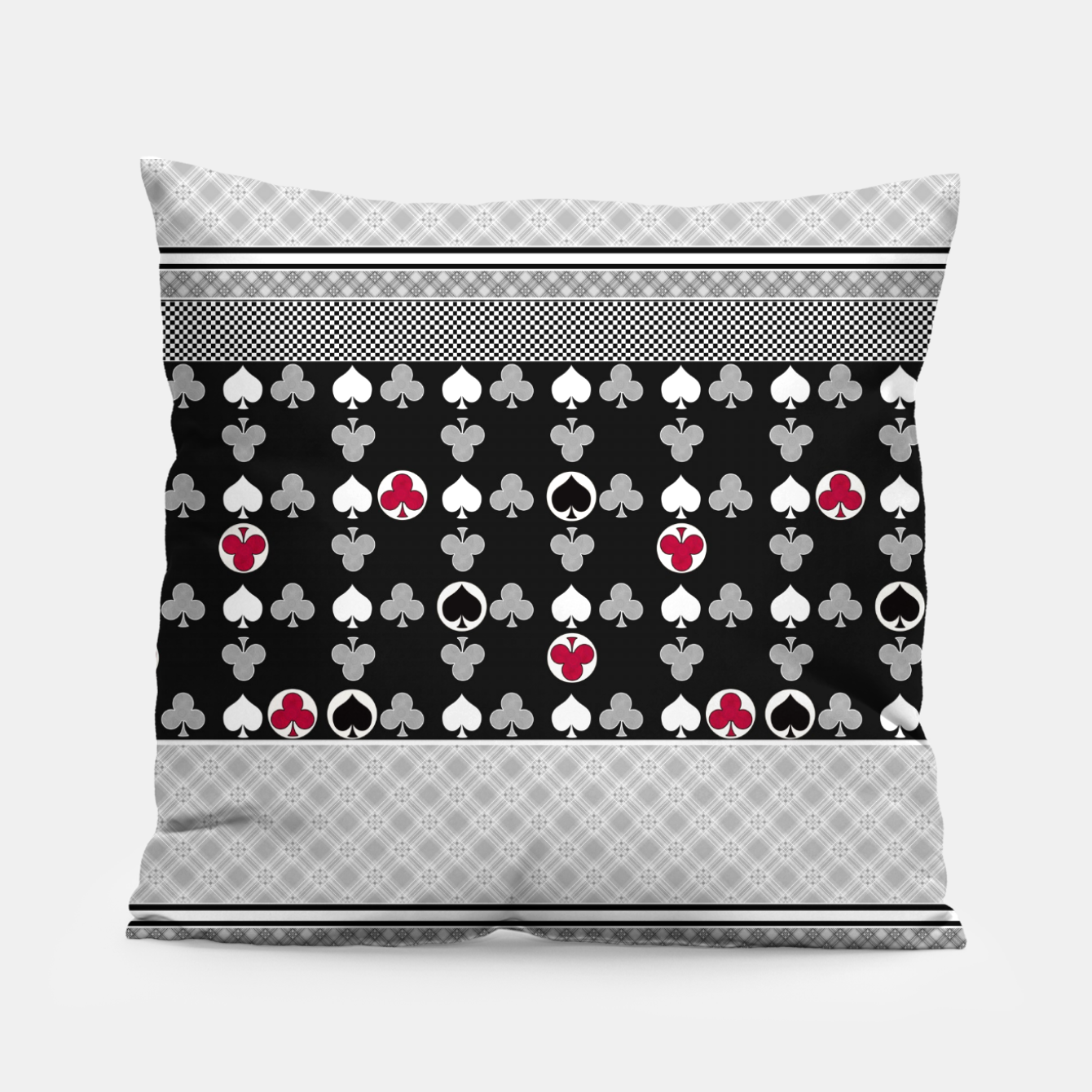 Image of Playing cards poker black red Pillow - Live Heroes