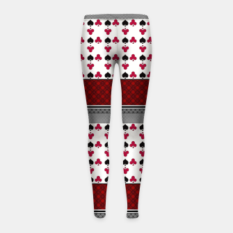 Thumbnail image of Playing cards poker black red Girl's leggings, Live Heroes