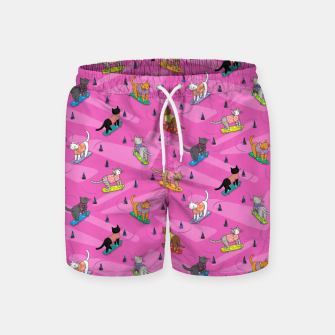 Thumbnail image of Skateboarding cats on the streets of Catsville in pink Swim Shorts, Live Heroes