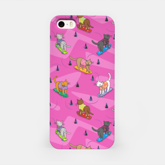 Thumbnail image of Skateboarding cats on the streets of Catsville in pink iPhone Case, Live Heroes