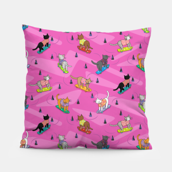 Thumbnail image of Skateboarding cats on the streets of Catsville in pink Pillow, Live Heroes