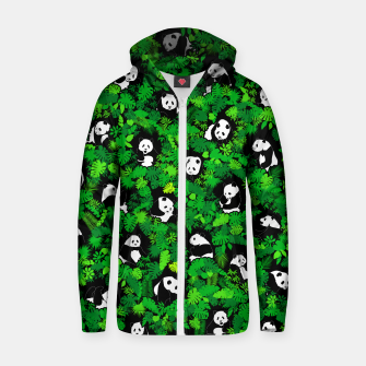 Thumbnail image of Panda Lover Giant Pandas Jungle Leaf Animal Wildlife Pattern Zip up hoodie, Live Heroes