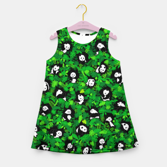 Miniaturka Panda Lover Giant Pandas Jungle Leaf Animal Wildlife Pattern Girl's summer dress, Live Heroes