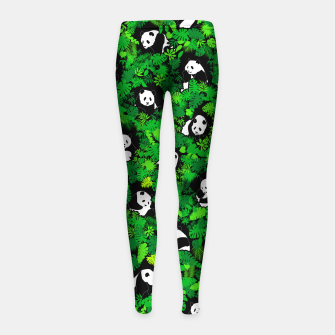 Miniaturka Panda Lover Giant Pandas Jungle Leaf Animal Wildlife Pattern Girl's leggings, Live Heroes