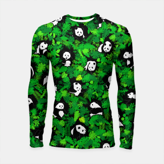 Miniaturka Panda Lover Giant Pandas Jungle Leaf Animal Wildlife Pattern Longsleeve rashguard , Live Heroes