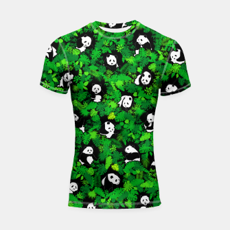 Miniaturka Panda Lover Giant Pandas Jungle Leaf Animal Wildlife Pattern Shortsleeve rashguard, Live Heroes