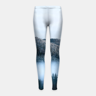 Mysterious fog trapped in winter spruce forest Girl's leggings Bild der Miniatur