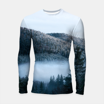 Thumbnail image of Mysterious fog trapped in winter spruce forest Longsleeve rashguard , Live Heroes