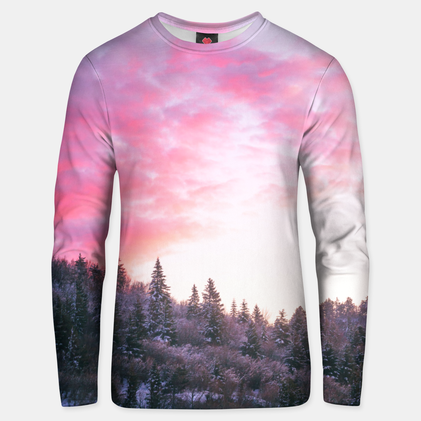 Foto Magical bright pink sunset above snowy forest Unisex sweater - Live Heroes