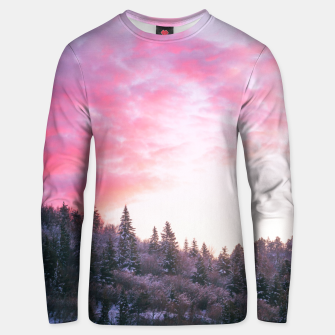 Magical bright pink sunset above snowy forest Unisex sweater Bild der Miniatur