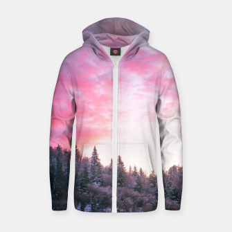 Magical bright pink sunset above snowy forest Zip up hoodie Bild der Miniatur