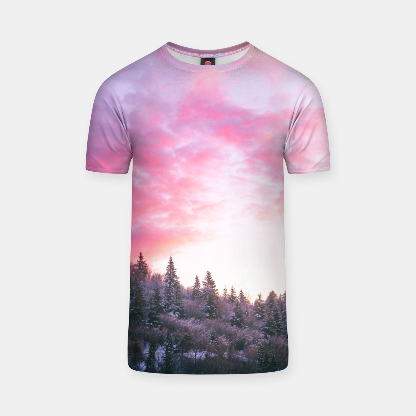 Foto Magical bright pink sunset above snowy forest T-shirt - Live Heroes