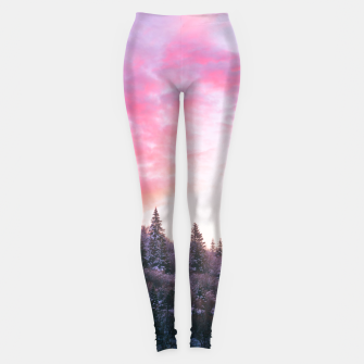 Thumbnail image of Magical bright pink sunset above snowy forest Leggings, Live Heroes