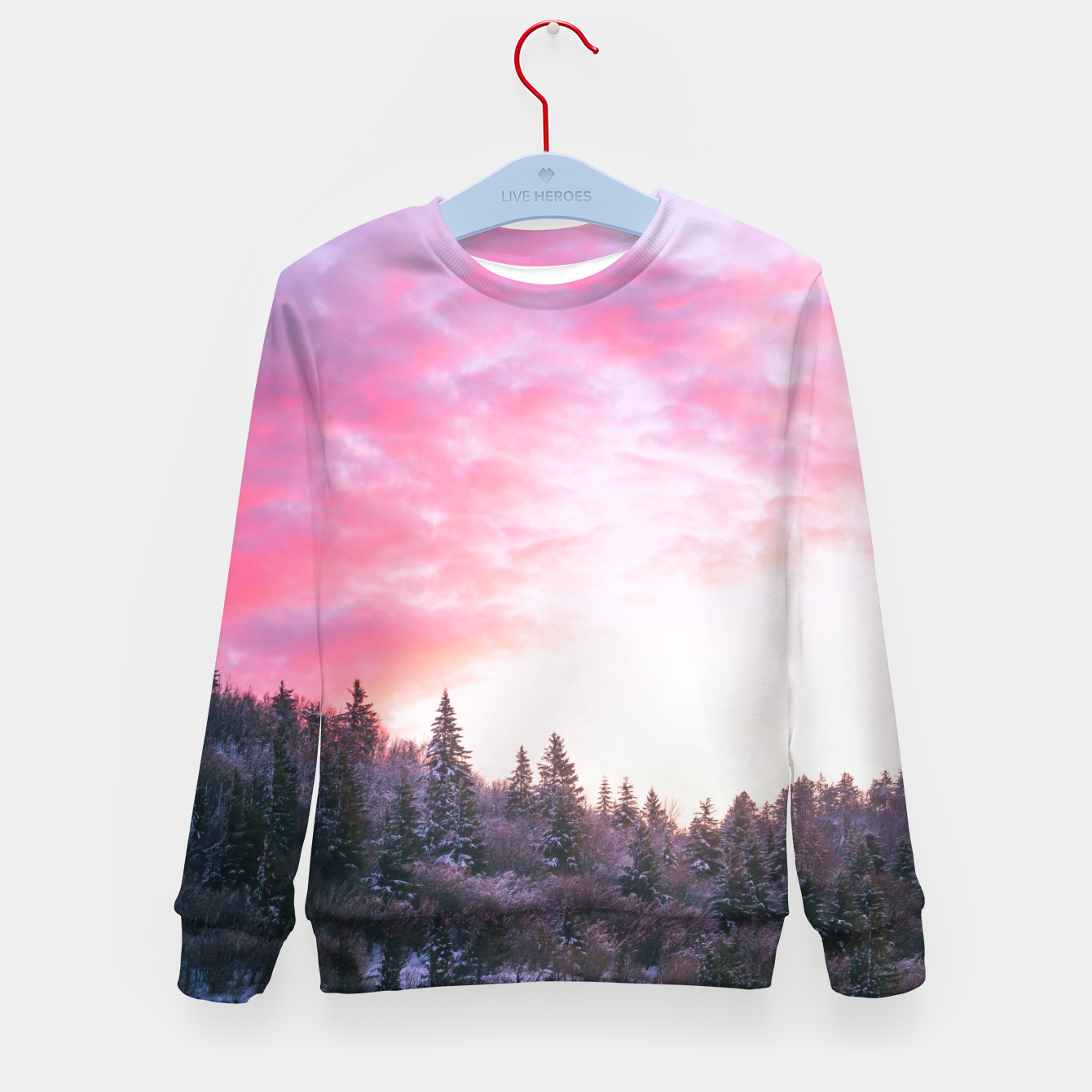 Foto Magical bright pink sunset above snowy forest Kid's sweater - Live Heroes