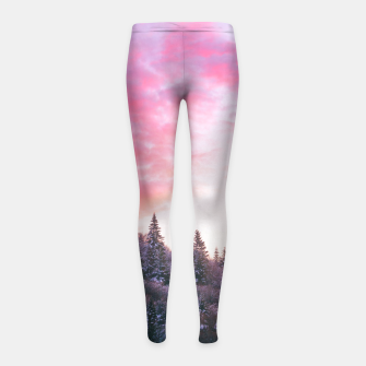 Magical bright pink sunset above snowy forest Girl's leggings Bild der Miniatur