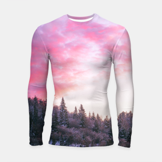 Magical bright pink sunset above snowy forest Longsleeve rashguard  Bild der Miniatur