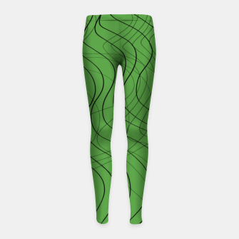 Thumbnail image of Green Waves Lines Girl's leggings, Live Heroes