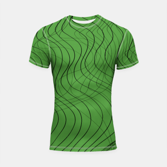 Thumbnail image of Green Waves Lines Shortsleeve rashguard, Live Heroes