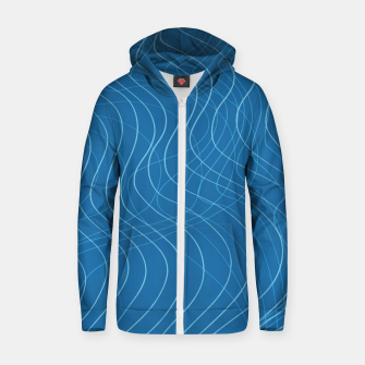 Thumbnail image of Blue Waves Lines  Zip up hoodie, Live Heroes